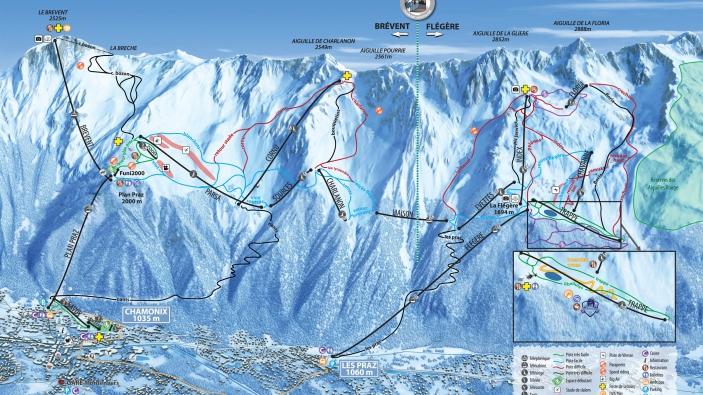 Pistekaart Chamonix Mont Blanc - Brévent - Flégère