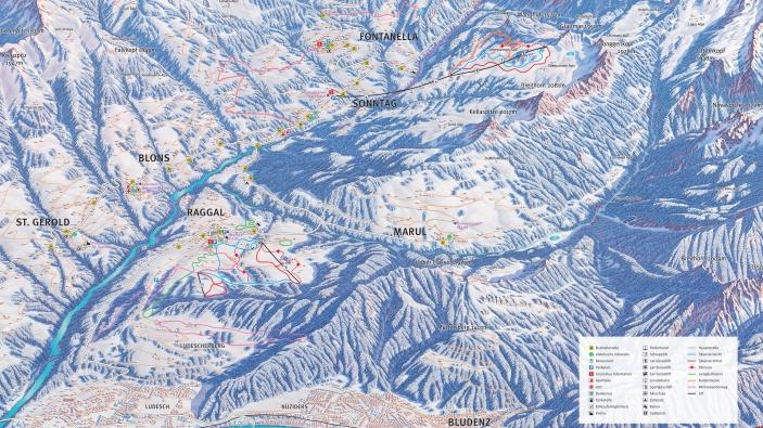 Pistekaart Grosses Walsertal - Raggal-Marul