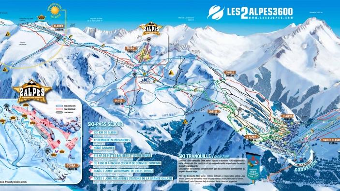 Pistekaart Les 2 Alpes