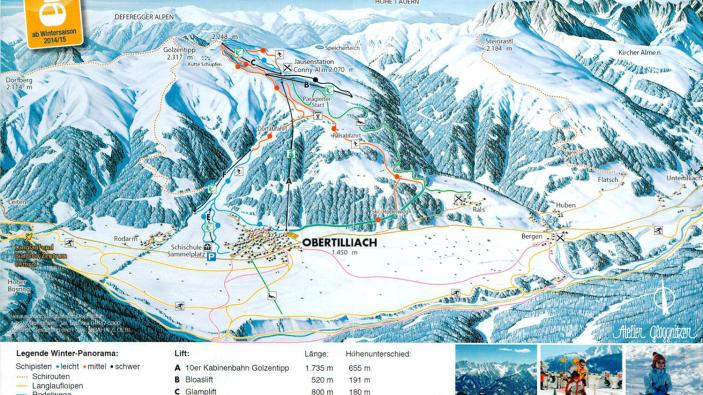 Pistekaart Obertilliach-Golzentipp