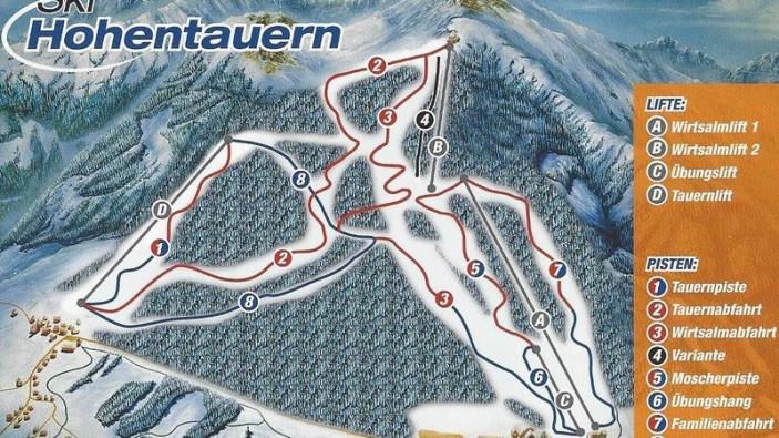 Pistekaart Ski Hohentauern