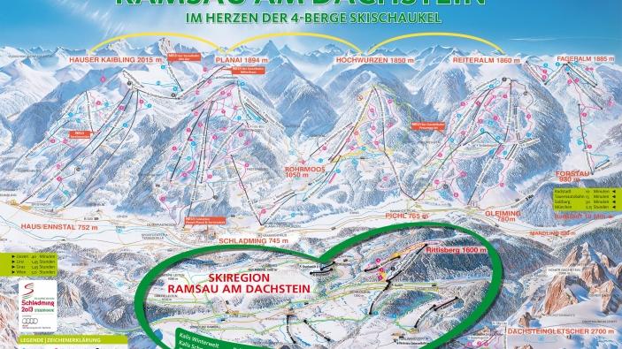 Pistekaart Skiregion Ramsau