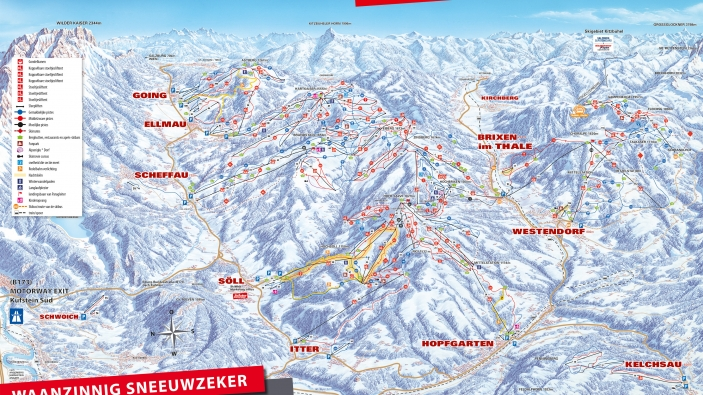 Pistekaart SkiWelt Wilder Kaiser - Brixental