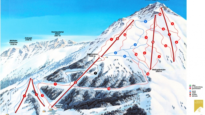 Pistekaart Skizentrums St. Jakob
