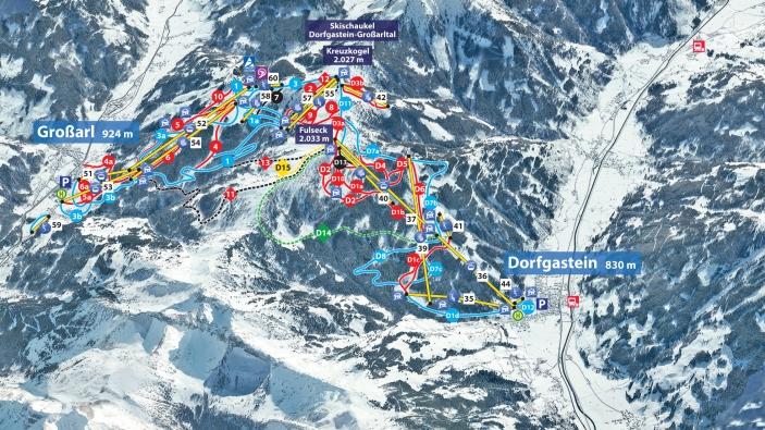 Pistekaart skigebied Grossarltal