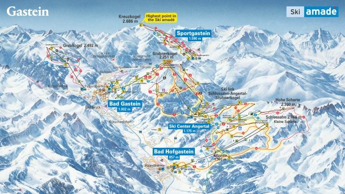 Pistekaart skigebied Ski Gastein