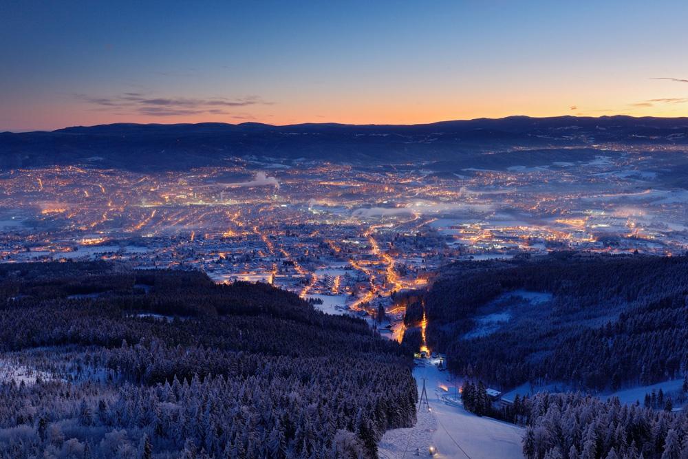 Avonduitzicht over Liberec