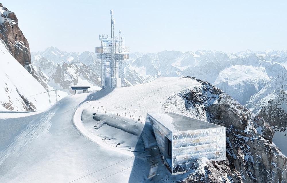 Bergstation und des Richtstrahlturms auf dem Titlis