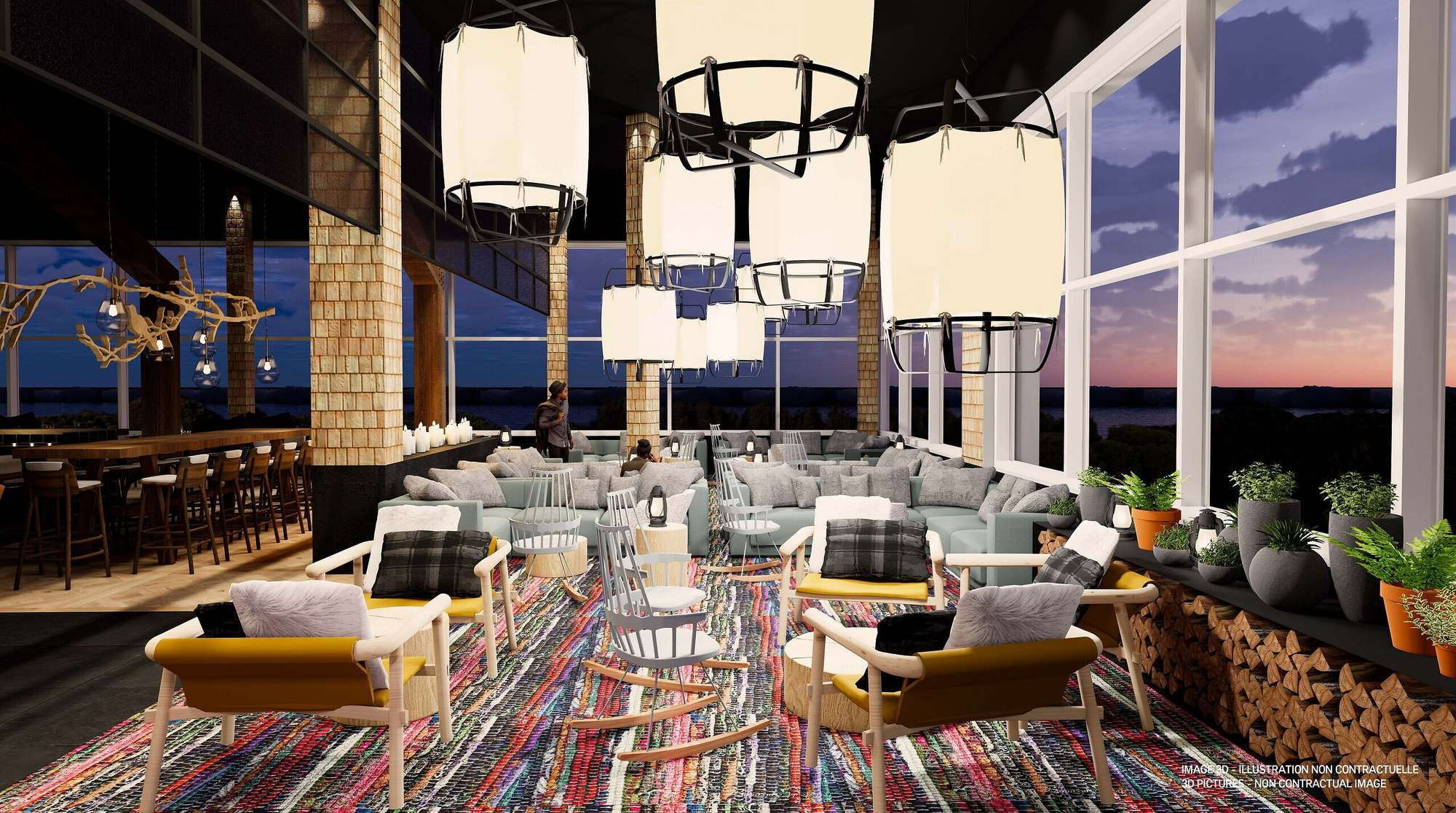 Club Med Charlevoix artist impression lobby by night