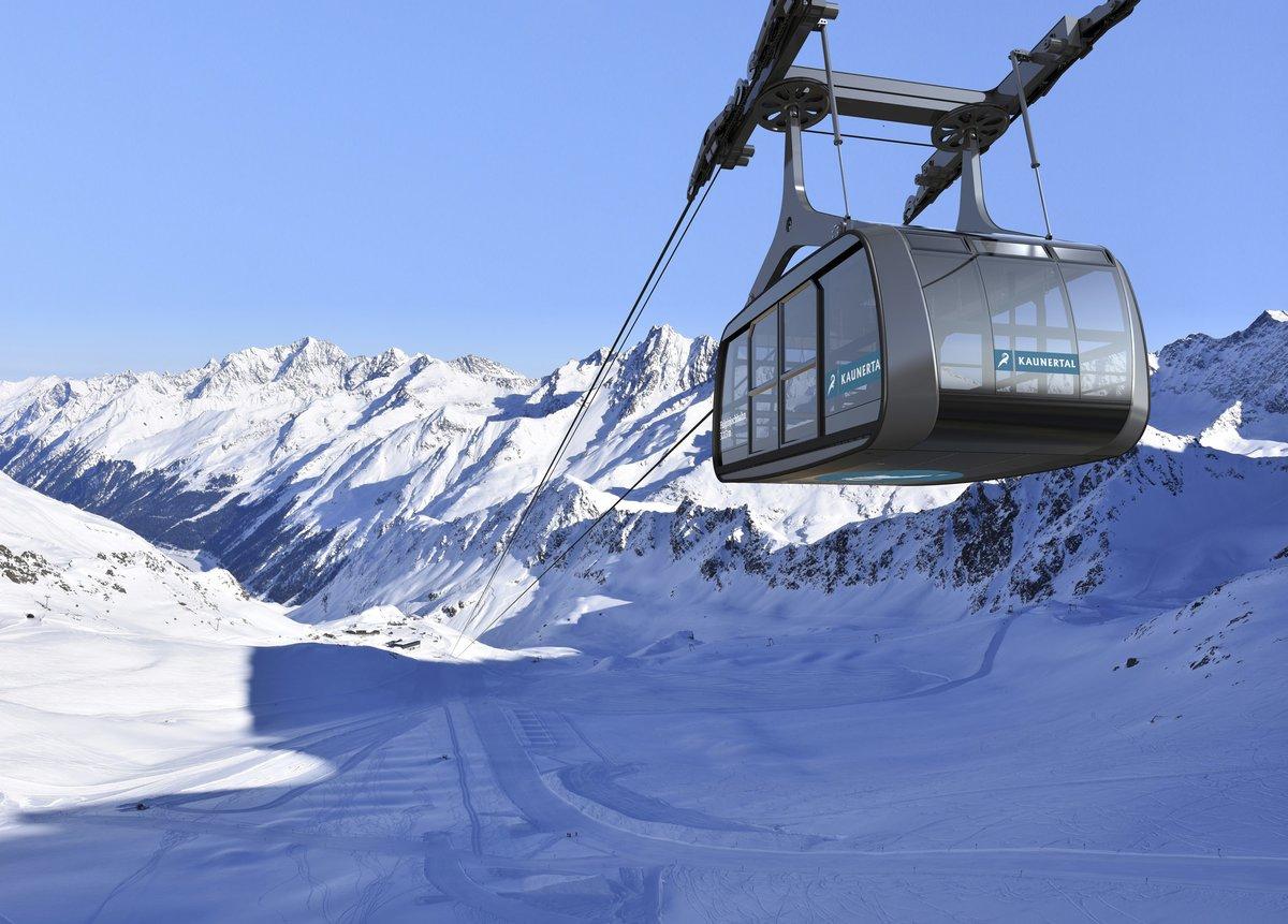 Falginjochbahn boven de gletsjerpiste