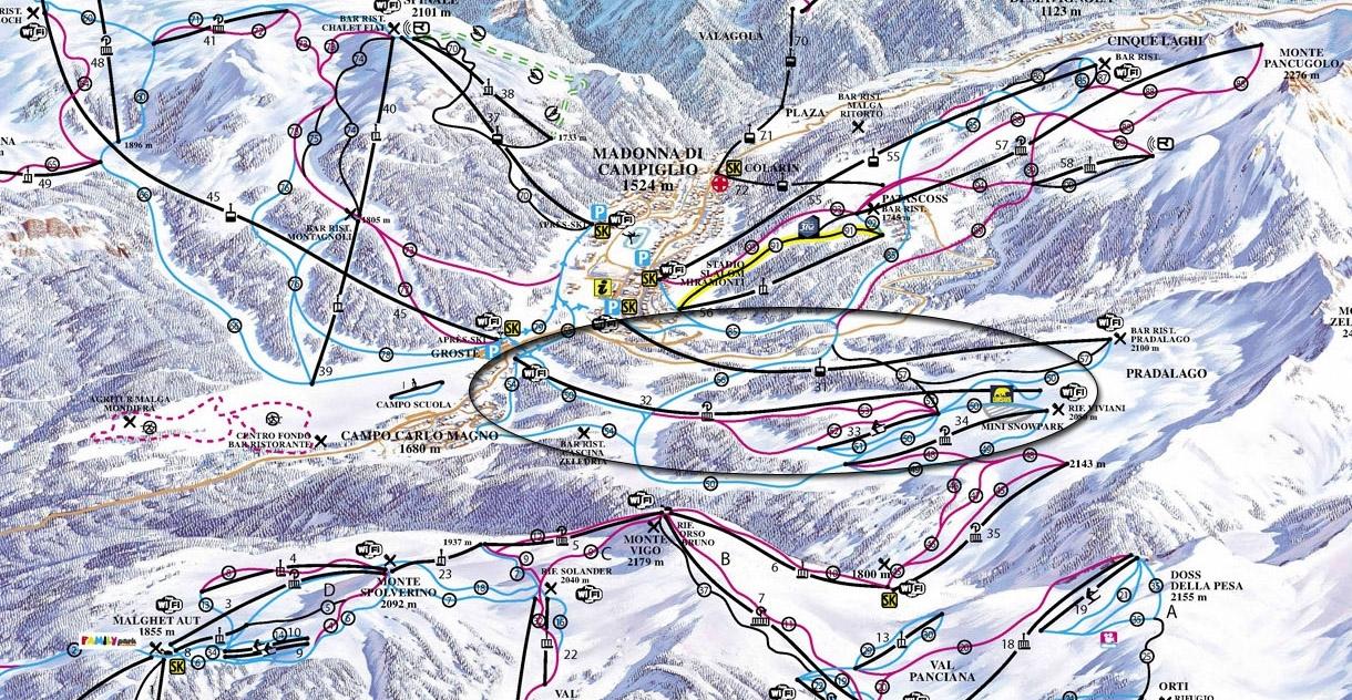 Fortini Express op de pistekaart