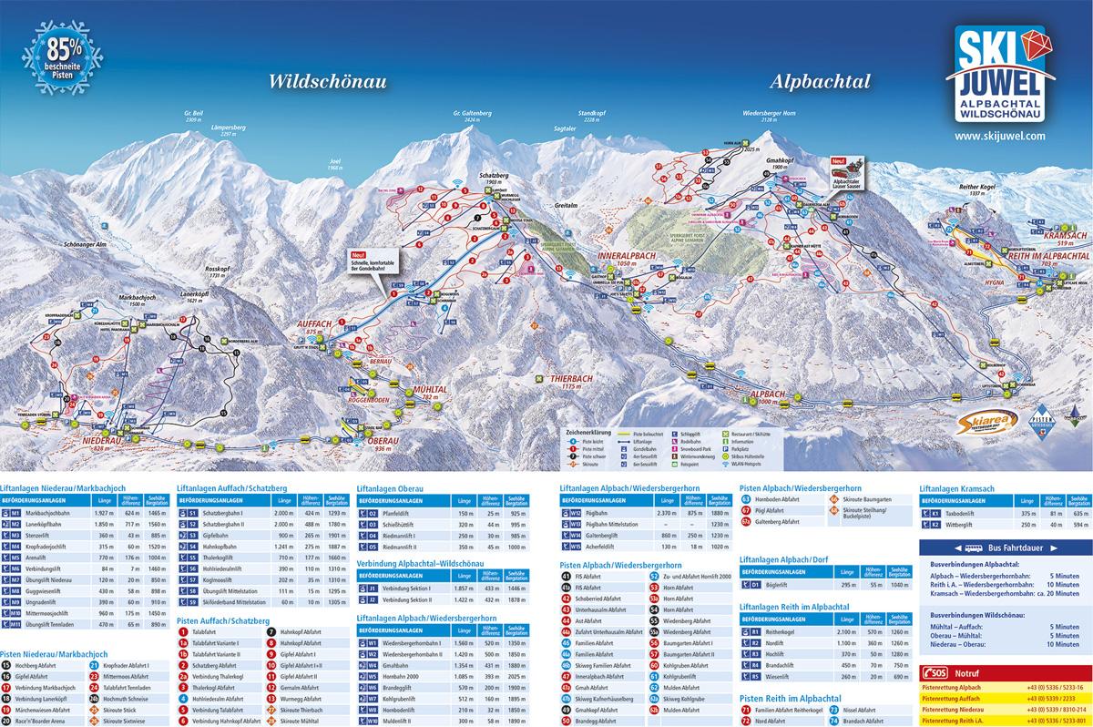 Pistekaart Ski Juwel Alpbachtal Wildschönau