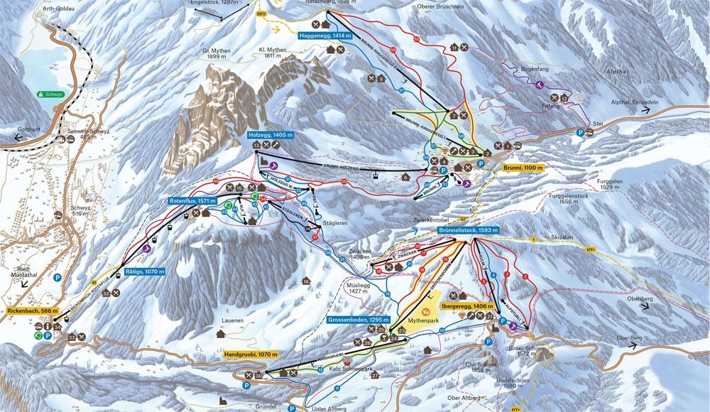 Pistekaart Skigebied Mythenregion
