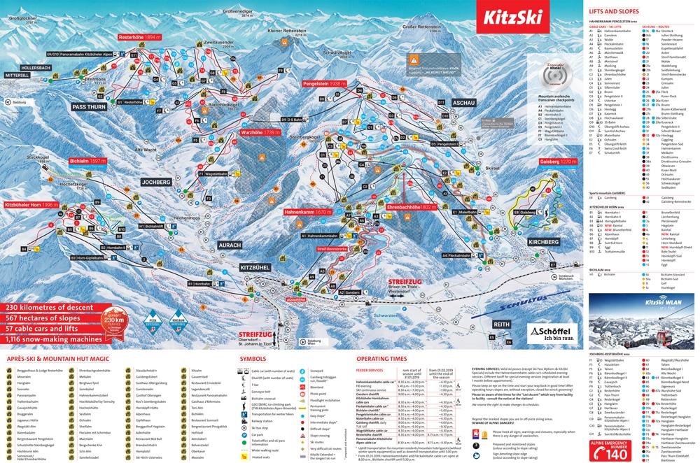 Pistekaart skigebied KitzSki