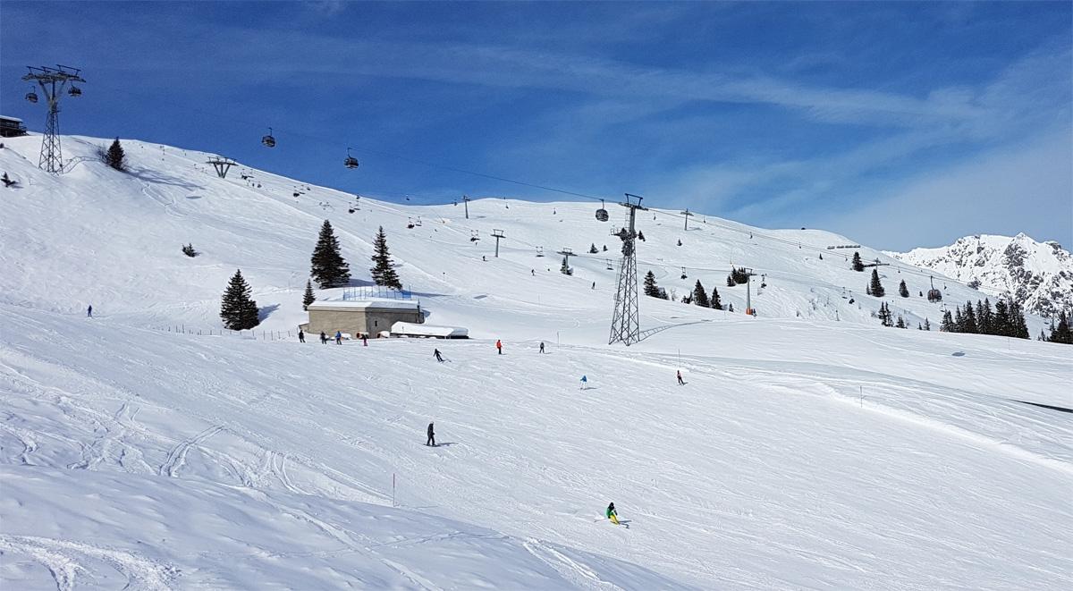 Skigebied Golm met oude gondel