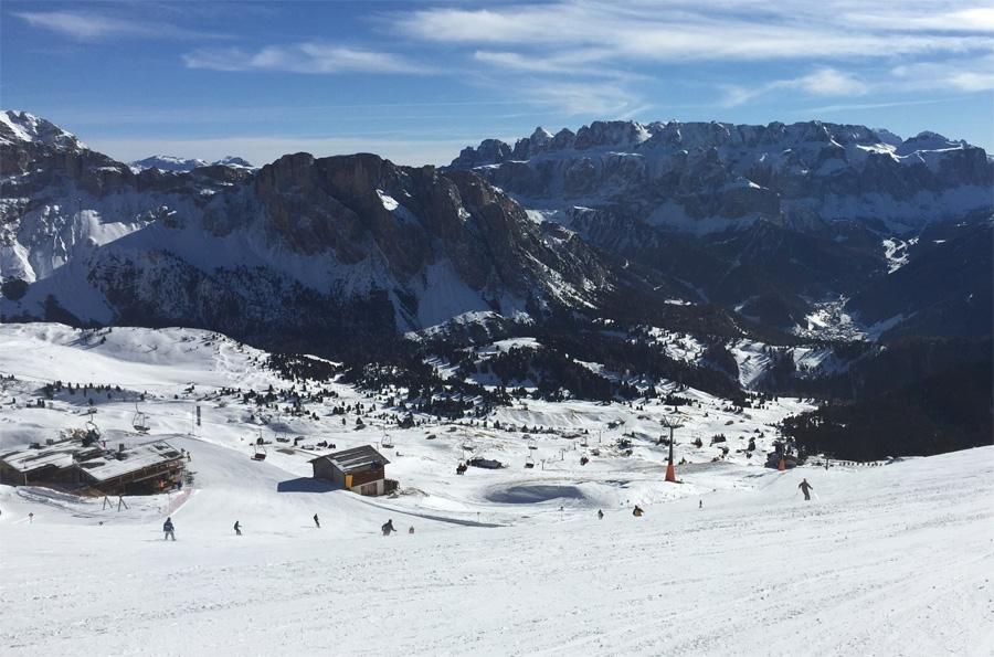 Uitzicht op Sellamassief vanuit skigebied Santa Cristina